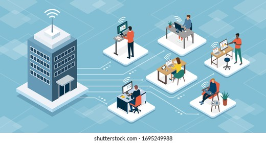 Professional business teleworkers connecting online and working from home for their corporate company, remote working and networks concept