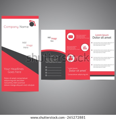 professional business three fold flyer template stock vector