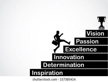 professional businessman running up the stairs with the text inspiration, determination, innovation, excellence, passion, vision with a bright white background - concept design vector illustration art