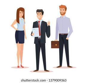professional businesswoman and businessmen with briefcase and documents