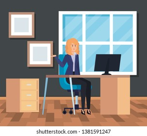 professional businesswoman with computer in the desk office