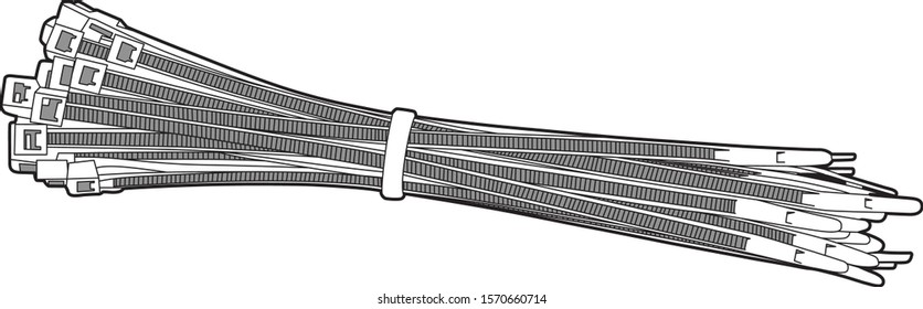 Professional Cable tie Group Vector / Line Drawing. Ideal for packaging design, graphic design and web design. Clean modern simple look. Cable Tie, Zip Tie, Vector. - Vector
