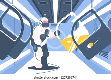 Professional car painting process at auto service. Specialist in protective suit spray dyeing at automobile doors in paint chamber flat style design vector illustration