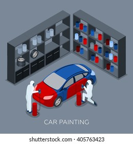Professional car painting process by auto service garage with paint spraying gun isometric banner abstract vector illustration