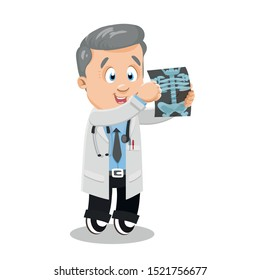 Professional cardiologist in white lab coat looking at x-ray. Silver haired doctor, osteopathic physician studying roentgenogram of patient. Vector cartoon illustration isolated on white background.