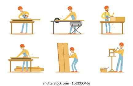 Professional Carpenter Character Doing His Daily Work Vector Illustration Set Isolated On White Background