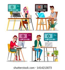 Professional Character Editor Working Set Vector. Happy Smiling Man And Woman Audio And Video Media Editor. Table, Laptop Or Monitor And Plant On Workplace Flat Cartoon Illustration