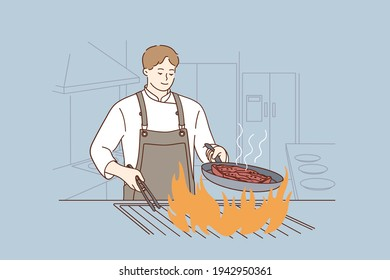 Professional chef, cooking, tasty food concept. Smiling man chef cooking delicious juicy beef steak on flaming grill in restaurant preparing food in modern restaurant kitchen vector illustration