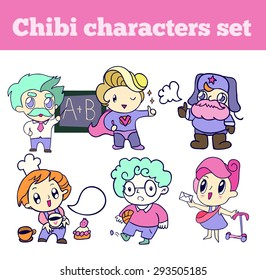 professional chibi characters set. isolated icons for your design.