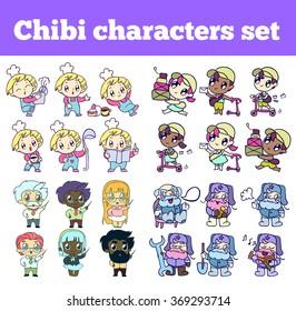 professional chibi characters set. isolated icons for your design. postman,  mailman,  postboy, scientist, academic, scholar, savant, erudite, cook, kitchener, flunkey.