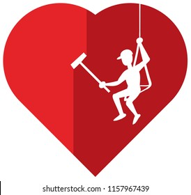 Professional cleaner hanging from a rope while cleaning a red cartoon heart.