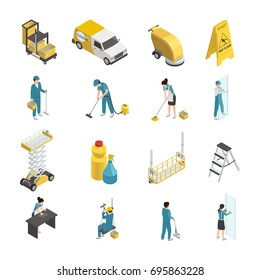Professional cleaning isometric icons with staff in uniform, detergents and machine equipment including transport  isolated vector illustration