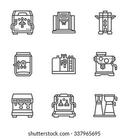Professional coffee machines. Equipment for coffee shop, cafe and restaurant. Flat black line style vector icons set. Design elements for website or mobile app.