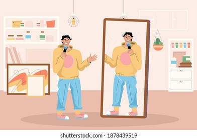 Professional comedian preparing for stand up performance at home. Artist rehearsing jokes standing in front at mirror. Live entertainment performance, comic show. Vector character illustration