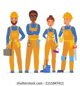 Professional construction workers specialists characters team. Friendly workers in workwear uniiform standing together. Flat vector illustration.