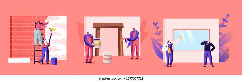 Professional Construction Workers with Tools. Characters with Instruments and Equipment for Home Repair and Renovation. Painting, Stick Wallpaper, Cleaning Window. Cartoon People Vector Illustration