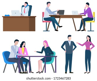 Professional consultation, broker collaboration, workers communication with laptop. Employees man and woman speaking, partnership and corporate vector