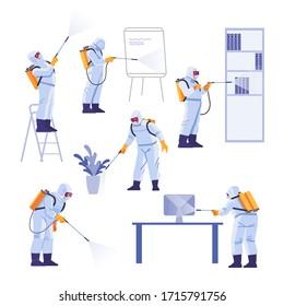 Professional contractors doing pest control at office. Coronavirus protection. Hazmat team in protective suits decontamination during virus outbreak. Cartoon vector illustration.