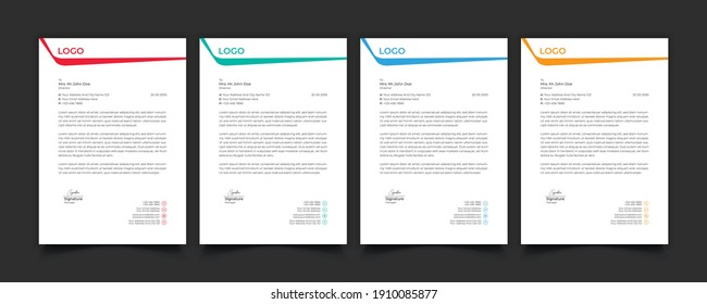 Professional Corporate Business Creative Letterhead Templates Designs Modern and Stylish or Simple Design
