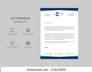 Professional corporate business letterhead vector template. Simple and clean print ready design.