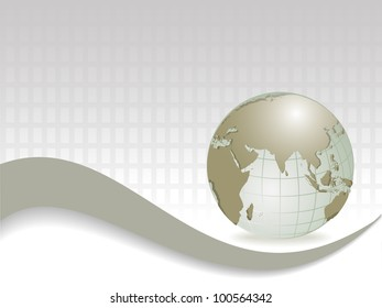 Professional Corporate or Business template for financial presentations showing globe in silver metallic color.  EPS 10. Vector illustration.