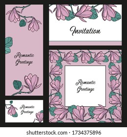 Professional corporate identity kit or business set with artistic, abstract colorful design. Abstract flowers. Vector composition.