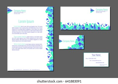 Professional corporate identity kit. Business Cards, Envelope and Letter Head Designs. Blue sample.  Vector template.