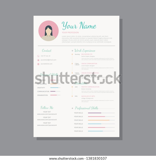 Professional Curriculum Vitae Template Women Stock Vector