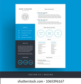 Professional CV / resume template blue background color minimalist vector cv - modern curriculum vitae design