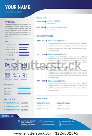 Professional Cv Resume Template Blue Background Stock Vector