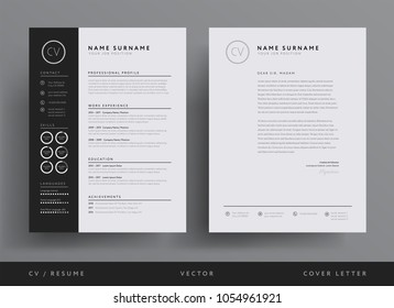 Professional CV resume template design and  letterhead / cover letter - vector minimalist - black and white