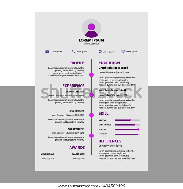 Professional Cv Resume Template Design Letterhead Stock Vector