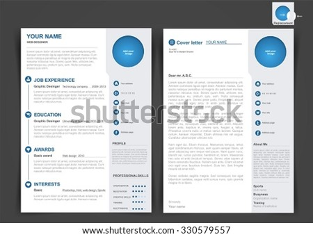 professional cv resume template two pages のベクター画像素材