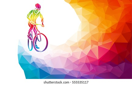 Professional cyclist involved in a bike race. Polygonal low poly