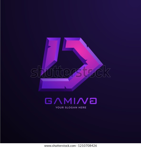 Professional D Letter Gaming Logo Stock Vector Royalty Free