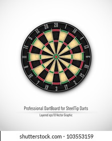 Professional Dartboard for Steel Tip Darts | Eps10 Vector Background | Layers Organized and Named