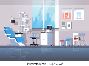 professional dentist chair and tools dental roomr cabinet tooth care concept modern clinic office interior flat horizontal
