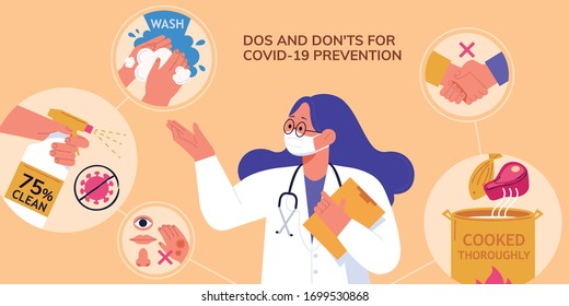 A professional doctor demoing dos and don'ts of avoiding coronavirus transmission during COVID-19 pandemic, in flat design