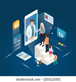 The professional doctor and queued patient meeting diagnosis online treatment on a smartphone concept.