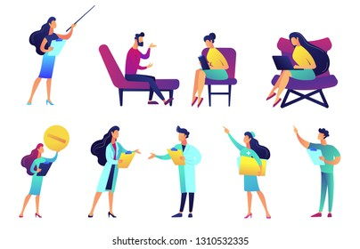 Professional doctors and nurses vector illustrations set. Tiny people medical stuff, medicine professionals, psychotherapist, pharmacist concept. Vector illustrations set isolated on white background.