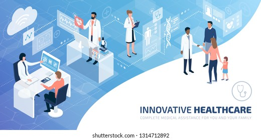 Professional doctors and patients in a virtual environment with user interfaces and screens, innovative healthcare concept