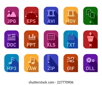 Professional document icon set, all at the same size, suitible for using in web ui and presentations.