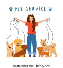 Professional dog handler walks with pet in park. Concept of dog walking service, volunteering, sitter, walker, pet care, dog shelter. Design for poster, banner, flyer, web.