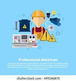 Professional Electrican Electricity Technology Web Banner Flat Vector illustration