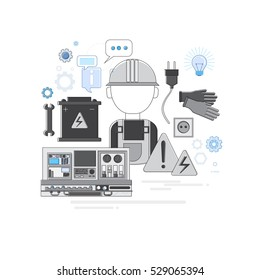 Professional Electrican Electricity Technology Web Banner Vector illustration