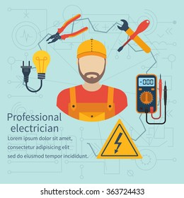 Professional electrician icon. Equipment and tools. Isolate icons electricity in flat style. Electrician on background of electrical circuit. Vector.
