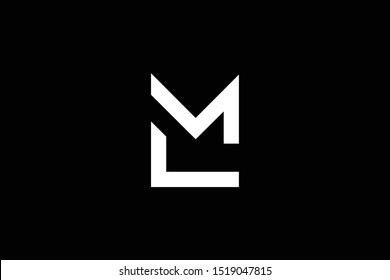 professional elegant trendy awesome artistic black and white color LM ML initial based Alphabet icon logo.