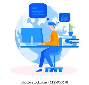 Professional engineer Programmer at work Concept for web page, banner, presentation, social media, documents, cards, posters. Vector illustration Web developer works on laptop,  idea, team work, code