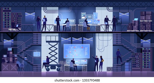 Professional IT Engineers Working in System Control Center Full of Monitors and Servers. Supervisor Holds Laptop and Holds a Briefing. Possibly Government Agency Conducts Investigation. Vector