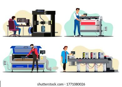 Professional equipment for advertising agency. Designer prints model on 3D printer. Specialist works on laser engraving machine. Man, Woman doing offset printing or plotter. Vector illustration